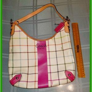 Coach Ivory Tattersall Plaid Bucket Handbag